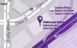 Foster City, California Restaurant Location Map