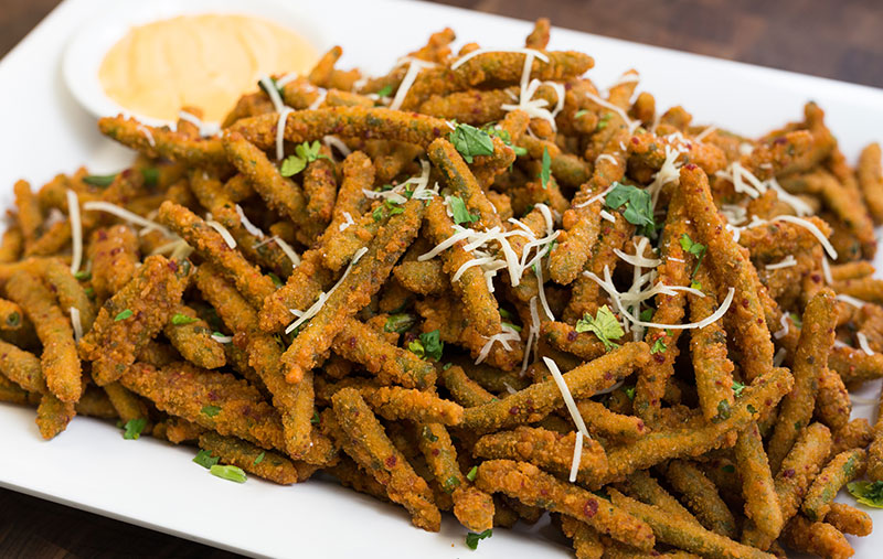 flash fried green beanswith garlic, ginger and fresh chili