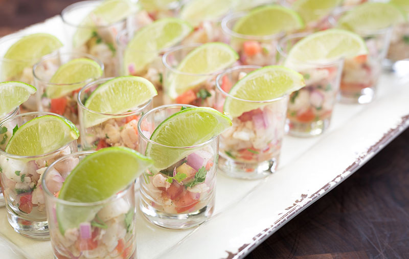 seafood ceviche shooters platter