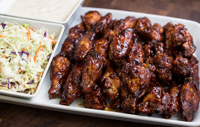 thai spiced wingswith house coleslaw and ranch