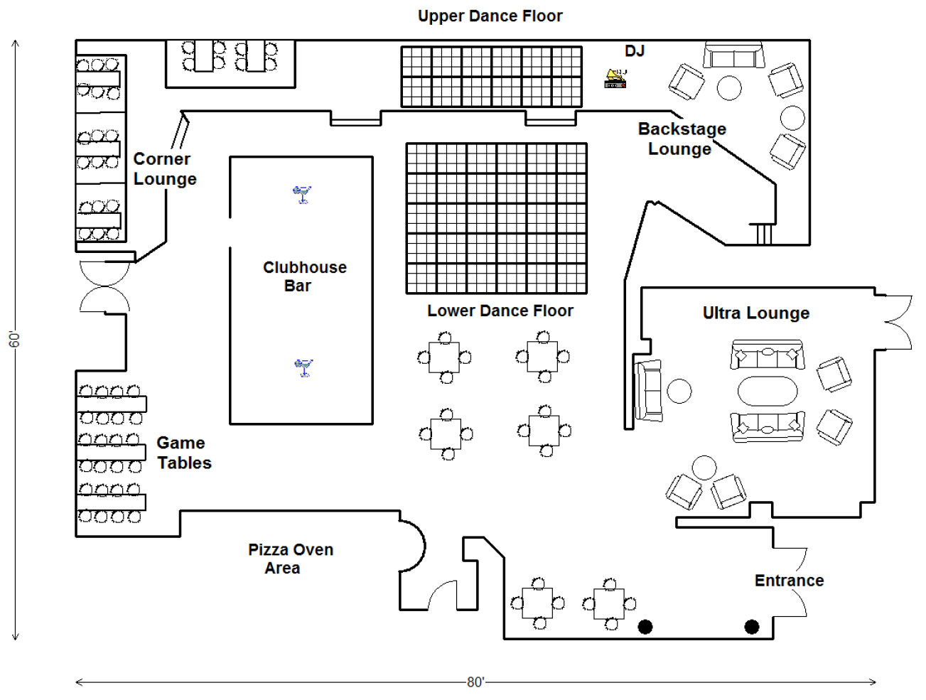 Floor Plan of Clubhouse Bistro, Foster city